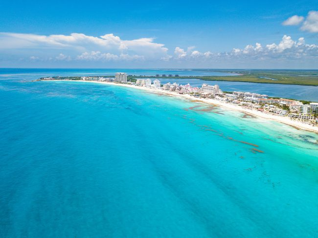 Cancun beach aerial view at Playa Delfines